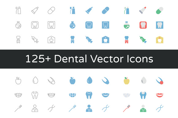 125 Dental Vector Icons