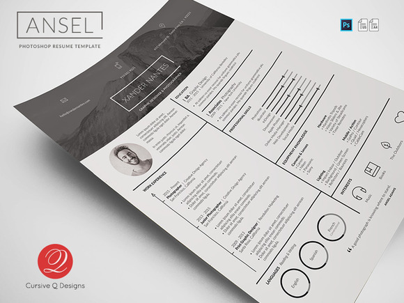 Ansel Photoshop Resume Template