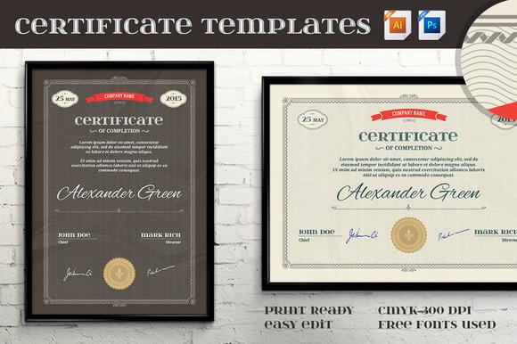 Certificate Templates Vector PSD II
