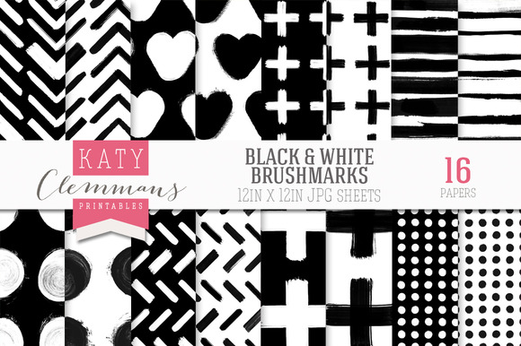 Black White Brush Marks Paper Pack