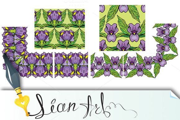 Floral Border And Seamless Patterns