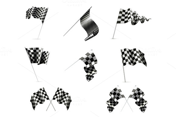 Checkered Racing Flags Vector Icons