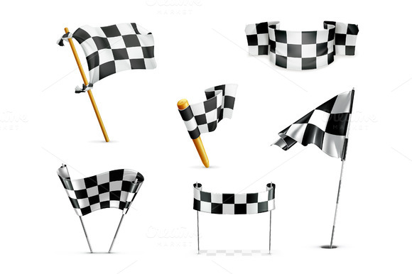 Racing Checkered Flags Vector Icons