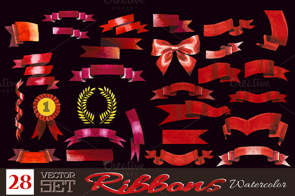 28 Watercolor Ribbons Set