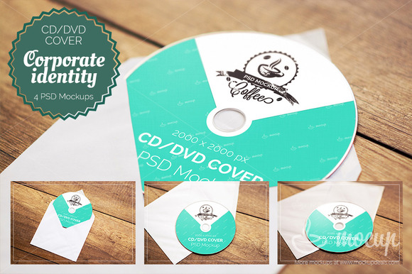 4 PSD CD DVD Cover Mockups