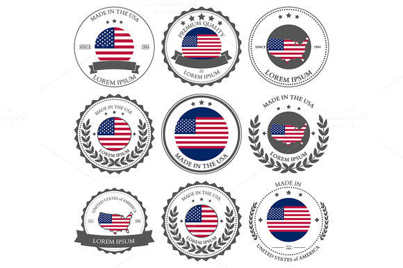 Made In USA Seals Badges Vector