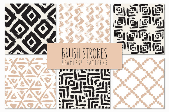 Brush Strokes Seamless Patterns V.6