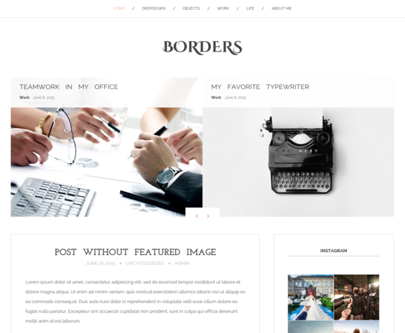 Borders Blog WordPress Theme