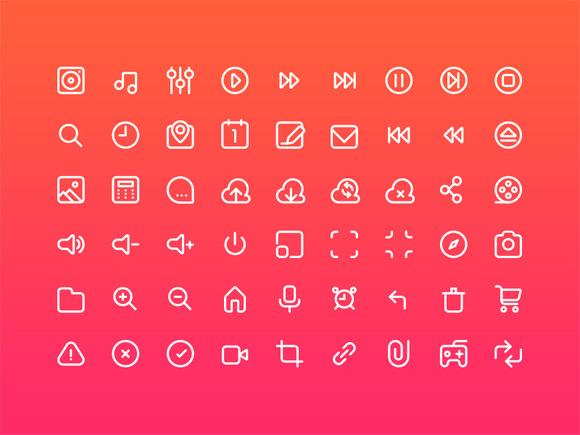 54 Multimedia Stroke Icons