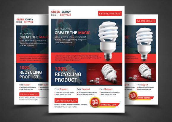 Green Energy Save Flyer Template