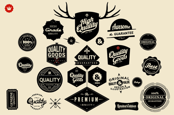 Huge Set Of Retro Badges Labels