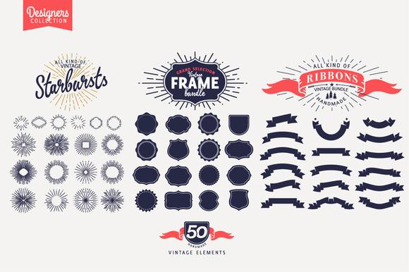 50 Vintage Logo Elements