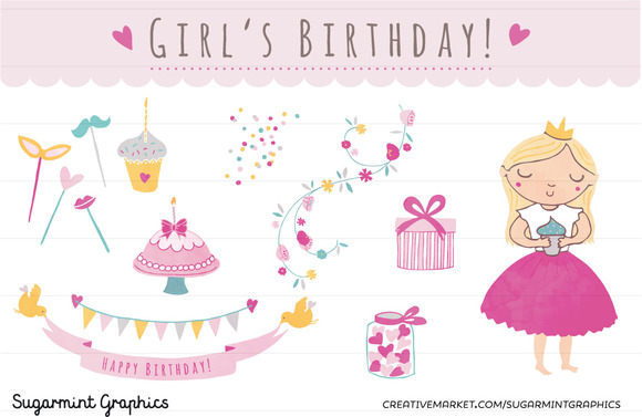 Birthday Girl Clip Art Flowers Party
