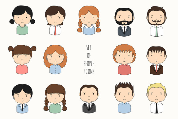 Set Of People Icons Drawn Faces