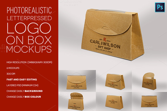 Logo On Cardboard Box Mokcups