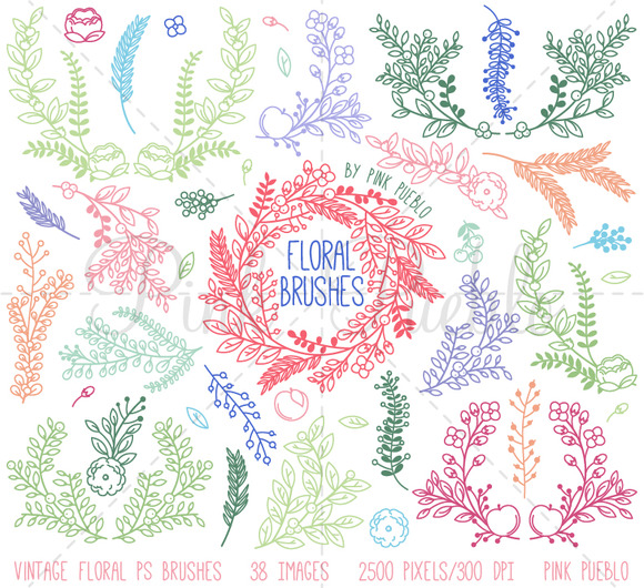 Vintage Floral Photoshop Brushes