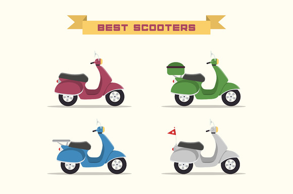 Set Of Vector Retro Scooters
