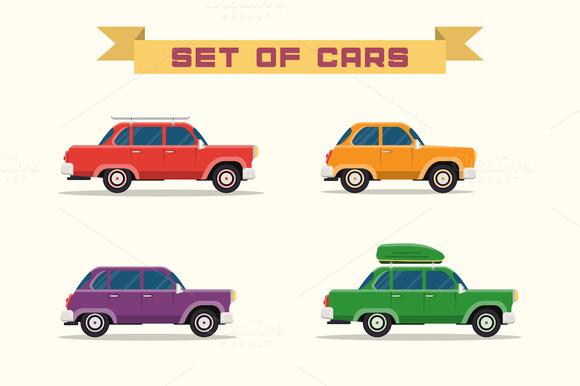 Set With Vintage Cars Flat Style