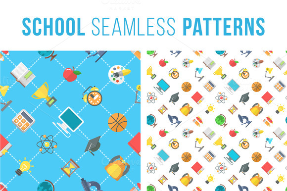 Flat School Icons Seamless Pattern