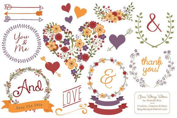 Autumn Floral Heart Clipart Vector