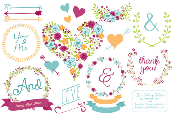 Bohemian Floral Heart Banners