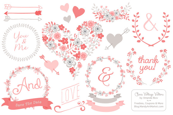 Coral Flower Heart Vectors Clipart