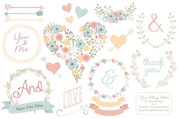 Pastel Floral Heart Clipart