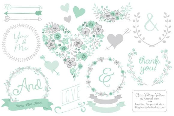 Mint Floral Heart Clipart Vectors