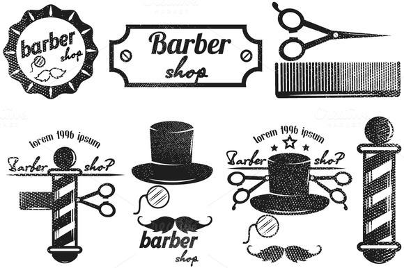 Barber Shop Logos Retro Vector