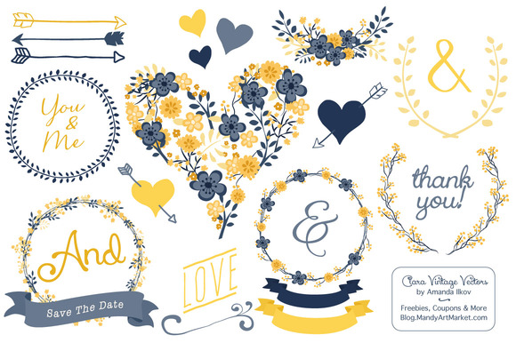 Navy Yellow Floral Heart Clipart