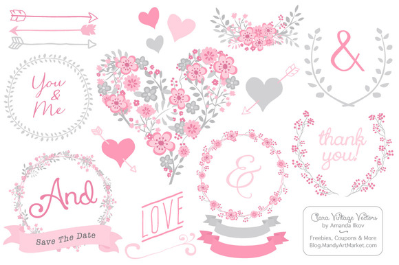 Pink Grey Floral Heart Clipart