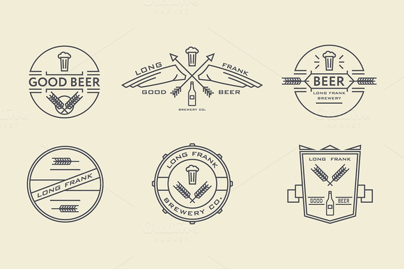 Vector Line Beer Labels