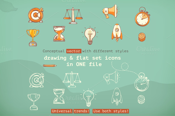 Drawing And Flat Vector Icons