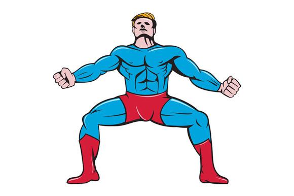 Superhero Squat Front Isolated Carto