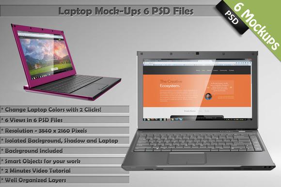 Laptop Mockups 6 PSD Templates