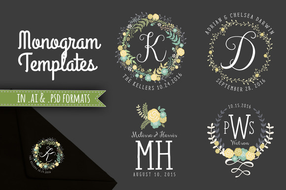 Floral Wreath Monograms AI PSD