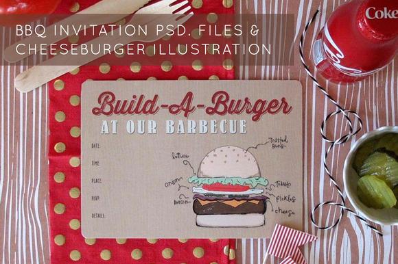 Hamburger Drawing BBQ Invitation