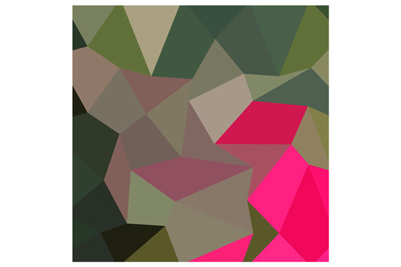 Cerise Red Green Abstract Low Polygo