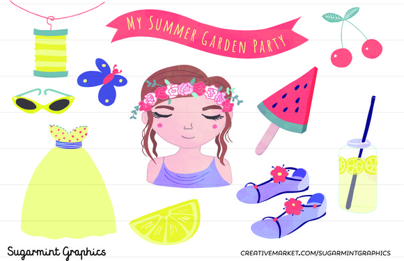 Summer Clip Art Garden Party Melon