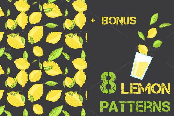 Lemon Citrus Pattern Set Of 8