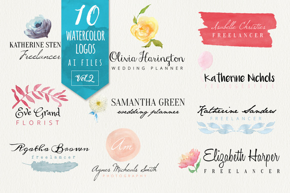 Watercolor Logos Vol2