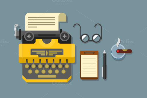 Typewriter With Glasses And Notepad