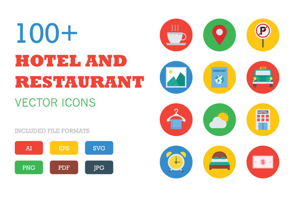 100 Flat Hotel And Restaurant Icons