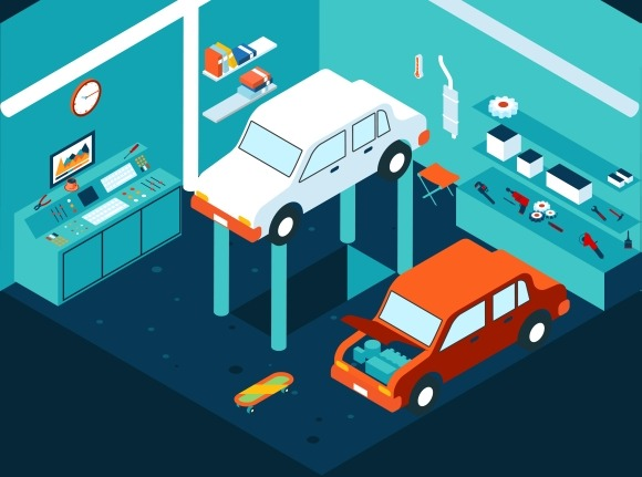 Isometric Garage Car Repair