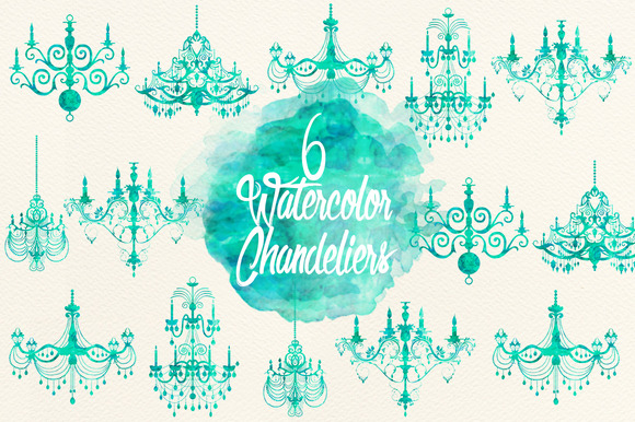Watercolor Aqua Chandeliers
