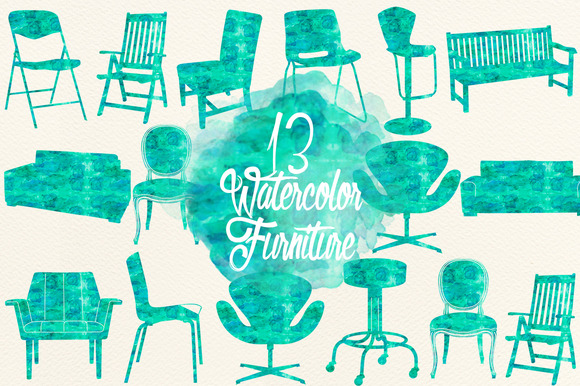 Watercolor Aqua Furniture
