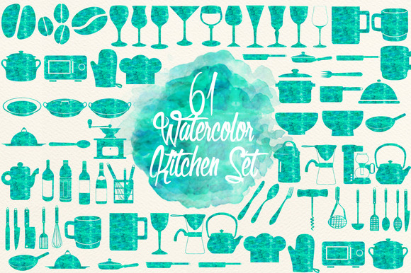 Watercolor Aqua Kitchen Set