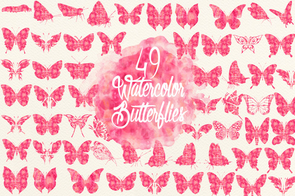 Watercolor Pink Butterflies