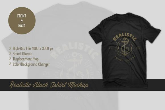 Black Realistic Tshirt Mockup
