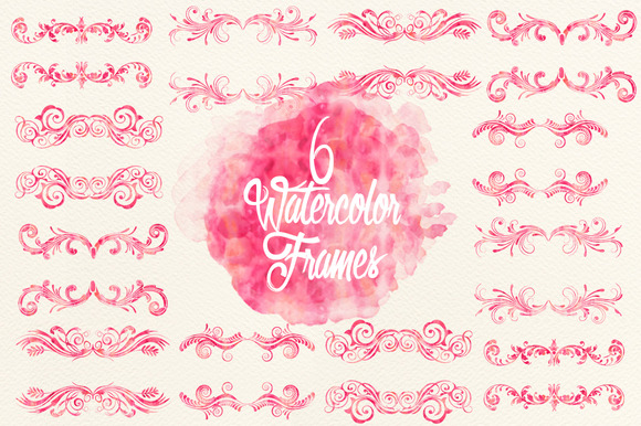 Watercolor Pink Frames